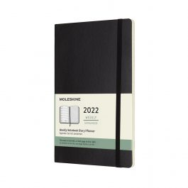 Moleskine 2022 Weekly 12 Month Large Diary Black Soft Cover