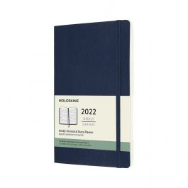 Moleskine 2022 Weekly 12 Month Large Horizontal Diary Sapphire Blue Soft Cover