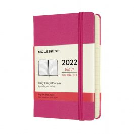 Moleskine 2022 Daily 12 Month Pocket Diary Bougainvillea Pink Hard Cover